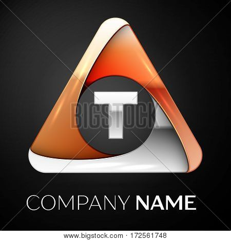 Letter T vector logo symbol in the colorful triangle on black background. Vector template for your design