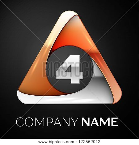 Number four vector logo symbol in the colorful triangle on black background. Vector template for your design