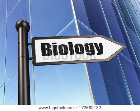 Science concept: sign Biology on Building background, 3D rendering
