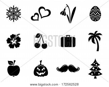 Black vector calendar month symbols silhouettes collection isolated