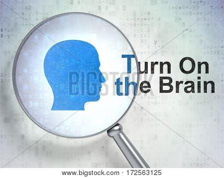 Education concept: magnifying optical glass with Head icon and Turn On The Brain word on digital background, 3D rendering