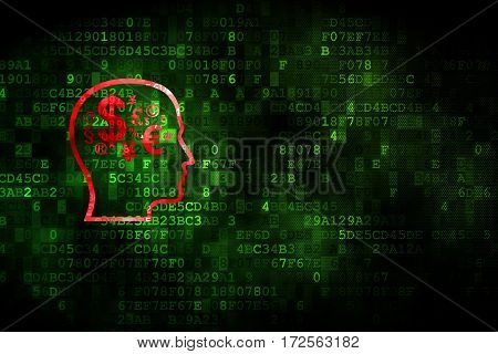 Studying concept: pixelated Head With Finance Symbol icon on digital background, empty copyspace for card, text, advertising