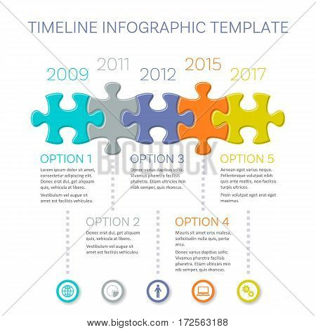 Modern timeline infographic vector design with puzzle pieces