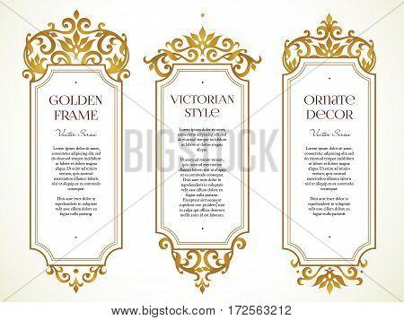 Vector Set Frames, Vignette In Victorian Style.