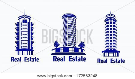 Set of vector icons Real Estate.Vector icons of architecture, urban