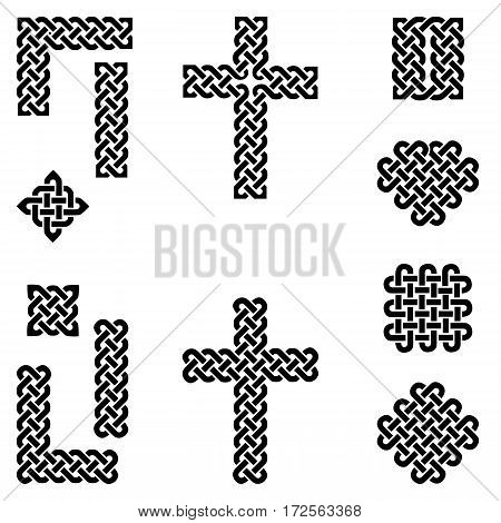 Celtic style endless knot symbols including border, line, heart, cross, curvy squares in  black on white background inspired by Irish St Patrick's Day, and Irish and Scottish Culture