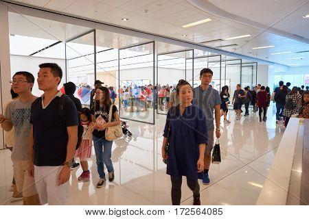 HONG KONG - CIRCA NOVEMBER, 2016: Apple store. Apple is an American multinational technology company.