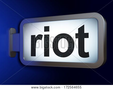 Political concept: Riot on advertising billboard background, 3D rendering