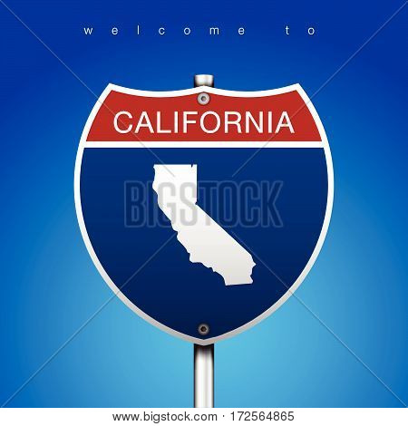 Sign of State American in Road Style  An Sign Road America Style with state of American with blue background and message, California and map, vector art image illustration