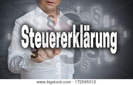 Steuererklaerung (in German Tax Declaration) Is Shown By Man Concept