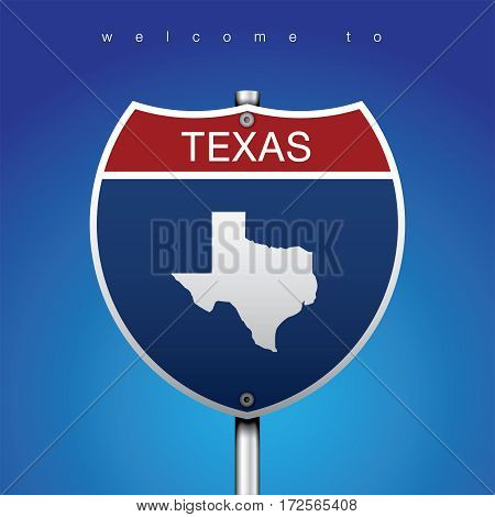 Sign of State American in Road Style  An Sign Road America Style with state of American with blue background and message, Texas and map, vector art image illustration