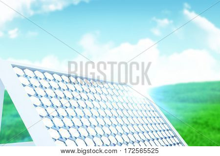 Illustration of solar panel equipment against green field under blue sky