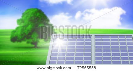 Purple solar panel against sunny green landscape