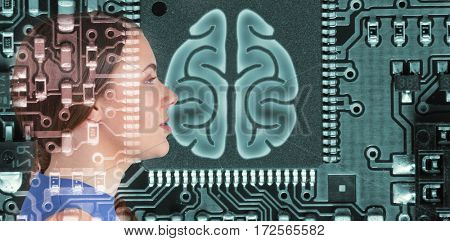 Close up profile view of beautiful woman day dreaming against human brain in circuit board