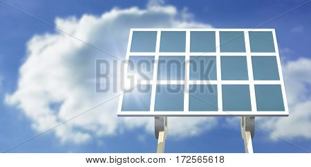 Blue solar panel against cloudy sky