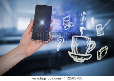 Hand holding mobile phone against white background against empty class room