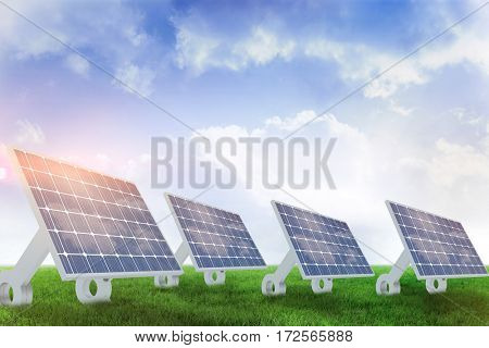 Sources of renewable energy equipment against blue sky over green field