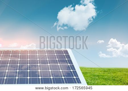 Solar equipment in hexagon shaped against blue sky over green field