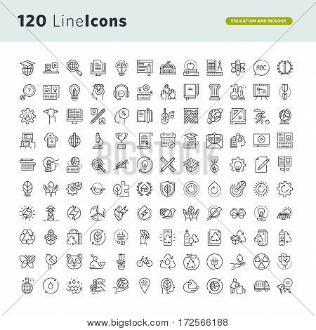 Set of premium concept icons for education and environment. Thin line vector icons for website design and development, app development, marketing presentation and print material.