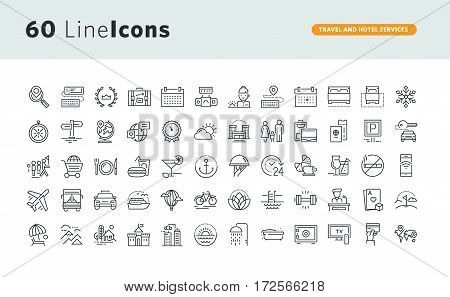 Set of premium concept icons for travel and hotel services. Thin line vector icons for website design and development, app development, business and marketing presentation and print material.