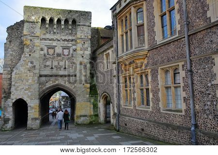 WINCHESTER, UK - FEBRUARY 4, 2017: Westgate Museum with the exterior facade and the archway