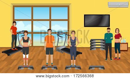 Fitness people in sports wear doing exercises in the gym with training apparatus. Sport characters. Helthy lifestyle concept. Vector illustration.