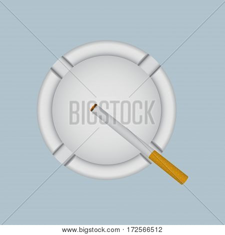 Realistic white ashtray with lit cigarette. Vector illustration.