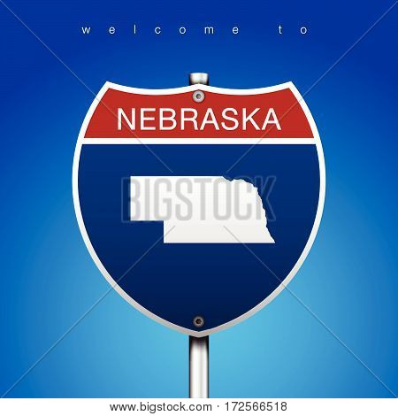 Sign of State American in Road Style  An Sign Road America Style with state of American with blue background and message, Nebraska and map, vector art image illustration