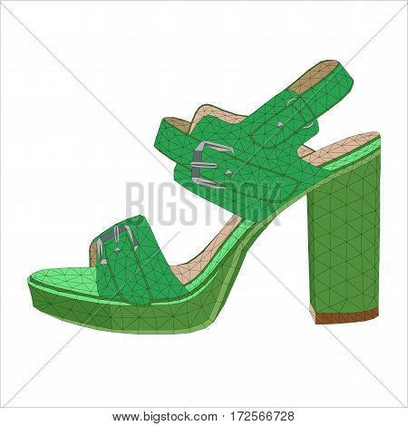 isolated mosaic heels on white background. women footware. vector illustration.