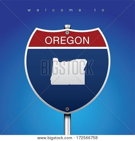 Sign of State American in Road Style  An Sign Road America Style with state of American with blue background and message, Oregon and map, vector art image illustration