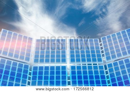 Illustration of solar panel against blue sky with clouds