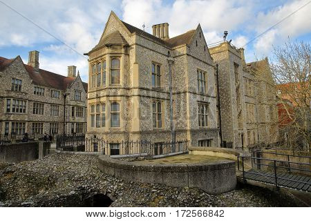 WINCHESTER, UK - FEBRUARY 4, 2017: Exterior view of the Castle Hill along Castle Avenue and close to the Great Hall