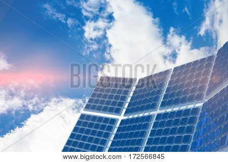 Modern solar equipment against white screen against view of beautiful sky and clouds