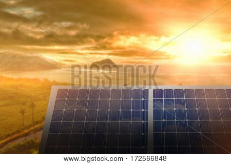 Solar panel equipment against white screen against sea landscape