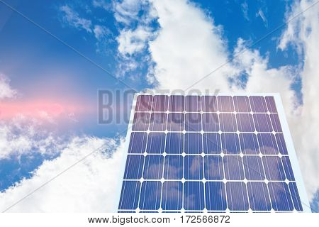 Hexagon solar panel equipment against white screen against view of beautiful sky and clouds
