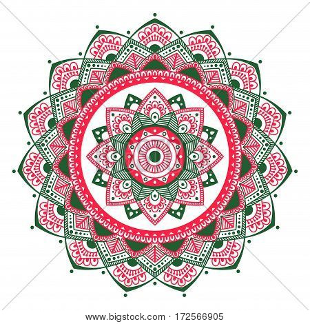Mandala. Coloring book pages. Indian antistress medallion. Abstract islamic flower, arabic henna design, yoga symbol. Vector illustration.