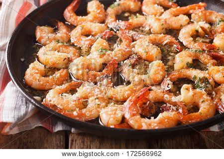 Shrimp With Garlic, Parmesan And Herbs Closeup. Horizontal
