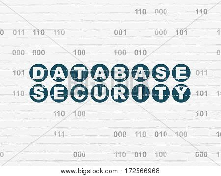 Database concept: Painted blue text Database Security on White Brick wall background with Binary Code