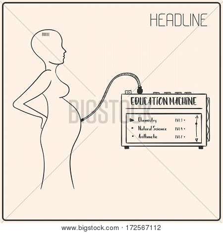 Vector sci-fi illustration of pregnant woman. She is connected to education machine. Fantasy hand-drawn image.