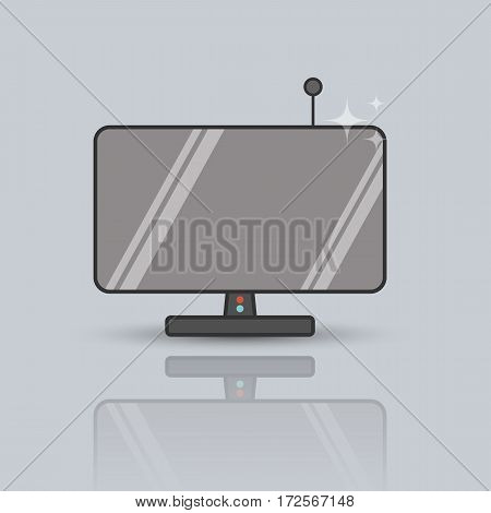 Vector flat illustration of television. Lineart icon on the grey background.
