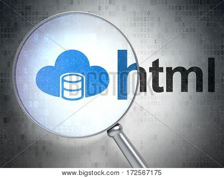 Software concept: magnifying optical glass with Database With Cloud icon and Html word on digital background, 3D rendering