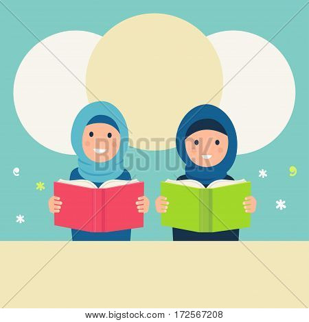 Muslim Girls Wearing Hijabs Read Books. Vector Illustration