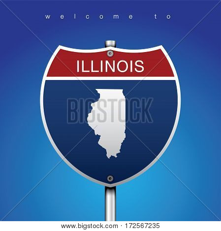 Sign of State American in Road Style  An Sign Road America Style with state of American with blue background and message, Illinois and map, vector art image illustration