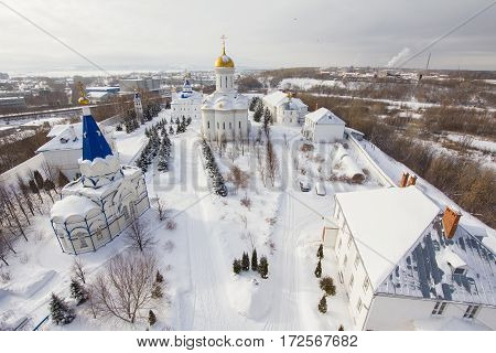 Kazan, Russia, 9 february 2017, Zilant monastery - oldest orthodox place - typical russian landscape, wide angle