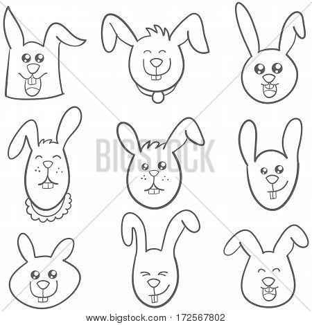 Set of bunny style hand draw vector art