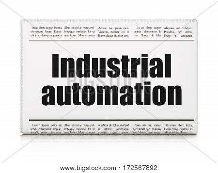Industry concept: newspaper headline Industrial Automation on White background, 3D rendering