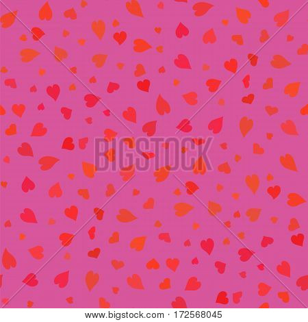Pink Hearts Seamless Pattern. Valentines Day Background. Symbol of Love