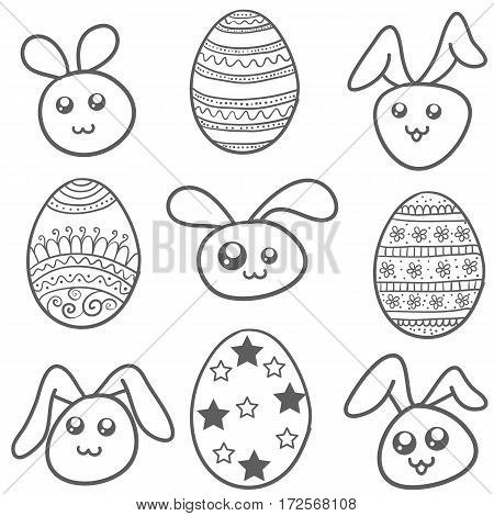 Set of easter egg and bunny vector art