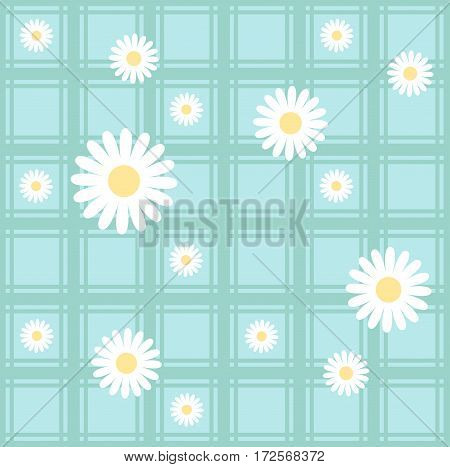 Seamless pattern with camomiles. Floral vector background