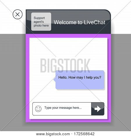 The live chat window. The illustration shows the online chat template that can be used for the website.